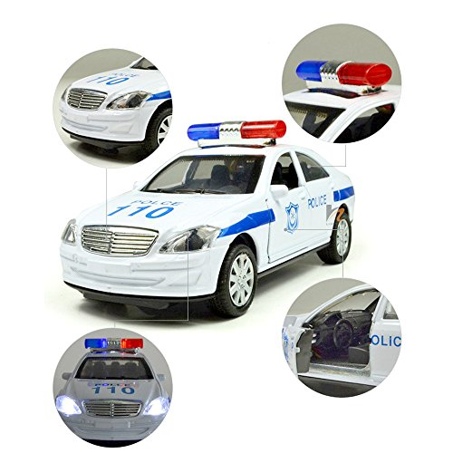 1:32 Police Car 110 Alloy Simulation Car Light Music Toy for Baby Boys Playing Gift - 1 25 Chevy Silverado