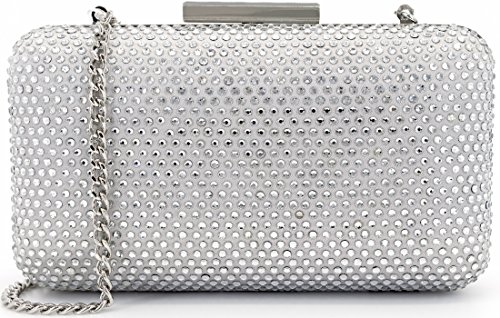 Dexmay Bling Rhinestone Crystal Clutch Purse Bow Clasp Women Evening Bag for Bridesmaid Wedding Party (Clear Crystal with Silver ()
