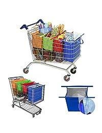 Juego de 4 bolsitas para carro de la compra Supermarket con aislamiento ecológico, plegables, reutilizables, Multicolor