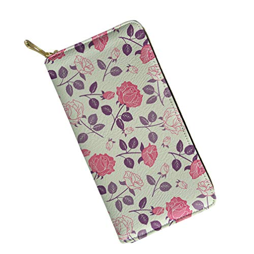 Flower Print Zipper - Women Lady Leather Wallet Zipper Flower Print Clutch Hand Purse Card Holder