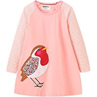 Fiream Girls Cotton Longsleeve Casual Dresses Striped Applique Cartoon