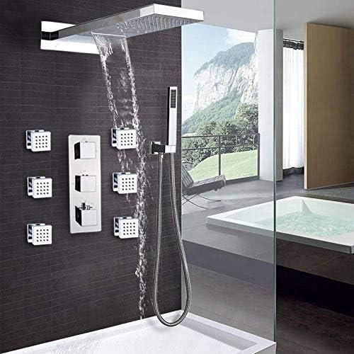 Gulakey セットのウォールマウントサーモスタットバスルームレインウォーターフォールシャワー水栓クロームシャワーセットバスタブシャワーミキサー蛇口タップシャワー