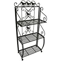 Metal Bakers Racks 59 In. Western Horses 3 Tier Brown Metal Bakers Rack 27 X 59 X 15 Inches Brown