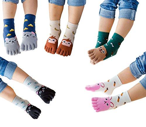 Design Monkey Embroidery Sock (TESOON Cartoon Embroidery Pattern Toe Socks Kids-Children 5 Pairs 7-12 Years)