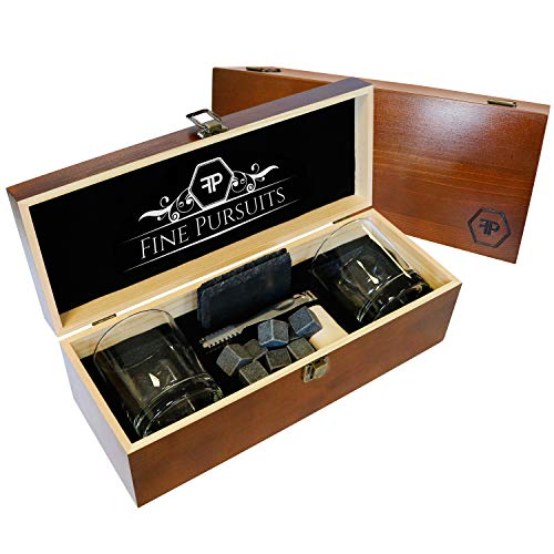 Premium Whiskey Stones Gift Set Scotch Glass Set of 2 Large Classic Tumblers, Stone Coasters, Tongs, 8 Granite Bourbon Chilling Rocks Drinking Glasses in Luxury Wooden Gift Box for Men Woman