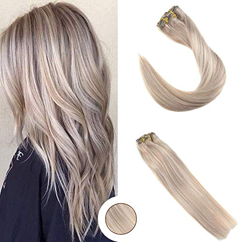 Ugeat 18inch 9Pcs Per Set 120Gram Clip in Hair Extensions Piano Color Ash Blonde 18 and Bleach Blonde Color 613 Highlight Real Human Hair Clip Extensions Full Head Set