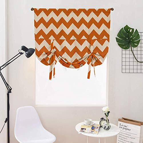 WUBODTI Orange Tie Up Curtain Valance for Small Window,Room Darkening Blackout Thermal Insulated Balloon Drapes Valance for Kitchen Bedroom Living Room,Geometric Stripe Pattern,32x55 Inch ()