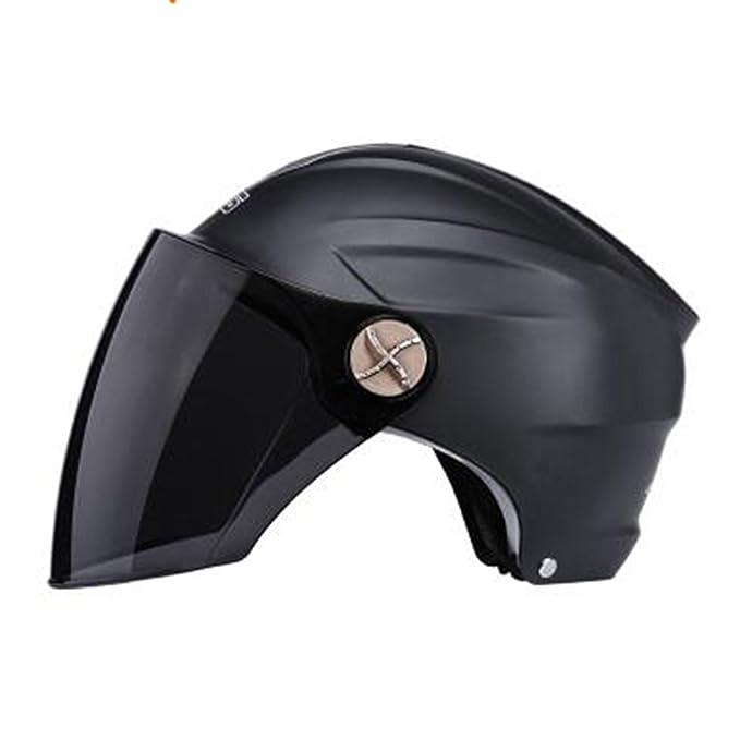 TZQ Protector Solar Casco De Moto De Verano Hombre Casco Gafas Casco Medio Abierto Máscara De