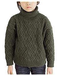 WDREAM Boys Girls Retro Long Sleeves High Collar Sweater Warm Knit Pullover