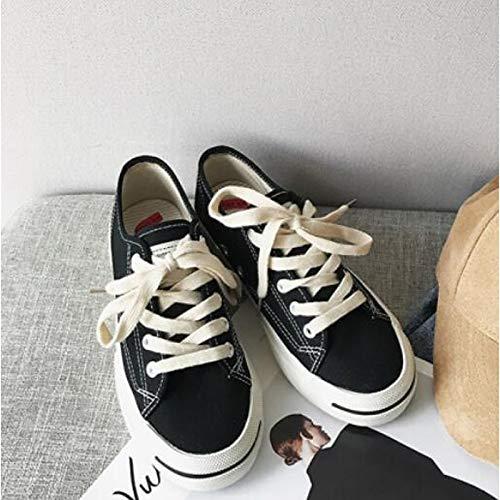 ZHZNVX Zapatos de Confort para Mujer Lienzo Zapatillas de Deporte de Primavera y otoño Talón Plano Blanco/Negro / Rojo Red
