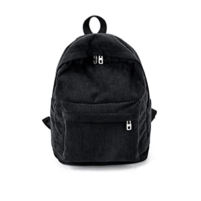School Vintage Backpack Casual Corduroy Rucksack Unisex(Khaki), Black, free size | Kids' Backpacks