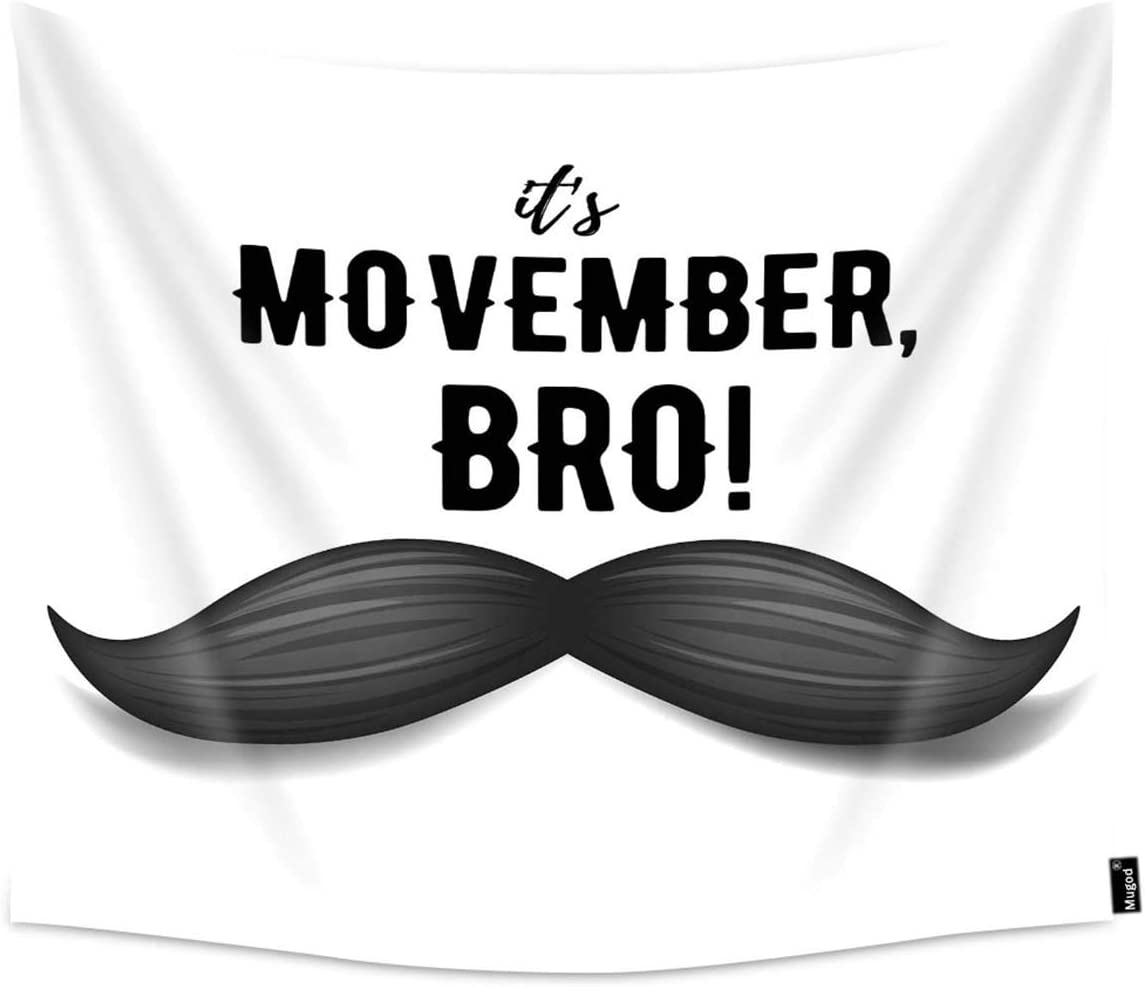 Mugod Movember Tapestry Prostate Cancer Awareness Month Poster Home Decor Tapestry Wall Hanging for Bedroom Living Room Dorm, 90WX60H Inches
