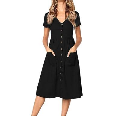 5ee79625999 Tloowy Summer Dress, Clearance! Women Boho Short Sleeve V Neck Button Down  Swing Midi