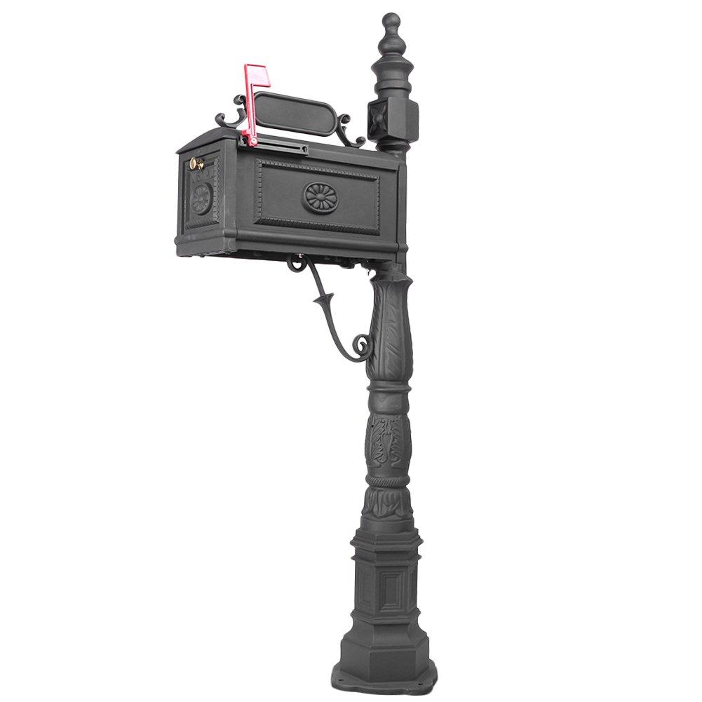 Mallofusa Mailbox with Post Decorative Cast Aluminum Postal Box Mailbox Black