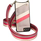 Bandolier [Angela] Case for iPhone 8 Plus, 7 Plus & 6 Plus | Metallic Ash Multi-Color Faux Leather Snapback Wallet with Convertible Adjustable + Detachable Strap | Gold Hardware Details.