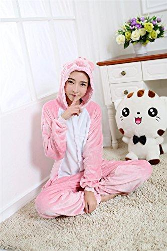 cartone di un WRH animali maiale di animato coppia costumi pigiama home pezzo Pigiama di flanella rosa anime UAUvRx