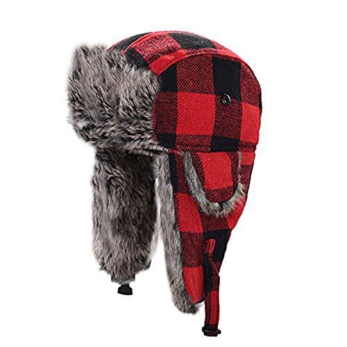 (HOMFUL Unisex Trapper Trooper Hat Hunting Hat for Men and Women Ushanka Ear Flap Chin Strap - Updated New Model)