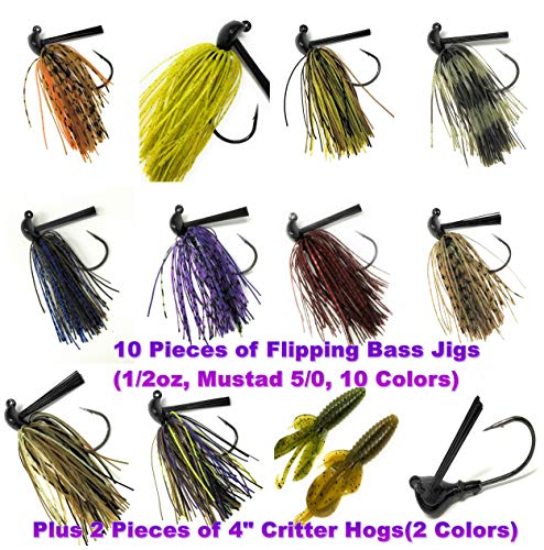 Wtrees Best Bass Jigs Set Kit Bulk with Trailers (Jigs Kit #2)