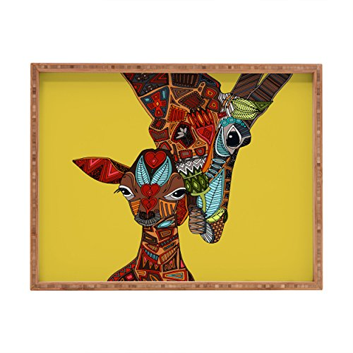 Deny Designs Sharon Turner Giraffe Love Ochre Indoor/Outdoor Rectangular Tray, 14 x 18 - Giraffe Tray