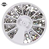 nails gems - Round 3D Acrylic Nail Art Gems Crystal Rhinestones DIY Decoration Wheel