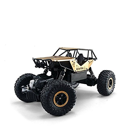 AHAHOO RC Off-Road Vehicle 1:18 scale Remote Control Cars 2.4Ghz 4WD High Speed Monster Truck Electric Rock Climber Desert Buggy (Golden)