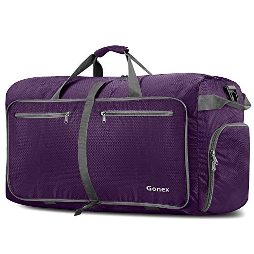 Gonex 100L Foldable Travel Duffel Bag for Luggage Gym Sports, Lightweight Travel Bag with Big Capacity, Water Repellent (Purple) ()