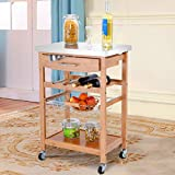 CHEFJOY Kitchen Trolley Cart w/Drawer Bamboo Island Serving Cart w/Stainless Tabletop Wine Rack Storage Shelf Basket 4 Castors 2 Lockable