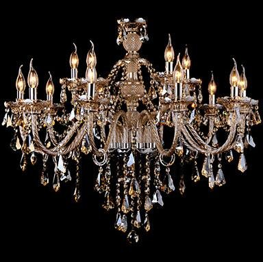 YanCui@ Chandelier Crystal Cognac Color Luxury Modern Fashion 2 Tiers Living 15 Lights , multi color-110-120v
