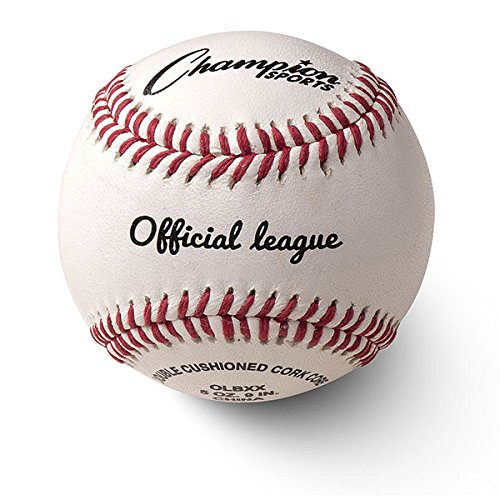 Champion Sports Leather Baseball Set: Dozen Indoor/Outdoor Genuine Leather Official League Baseballs for Practice Training or Real Game - OLBXX Pack of - Leather Baseball Champion