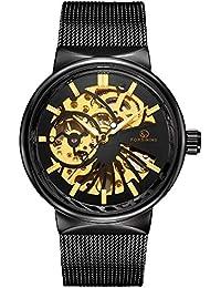 Wristwatches Men Boy Hollow Out Handwind Mechanical Watch