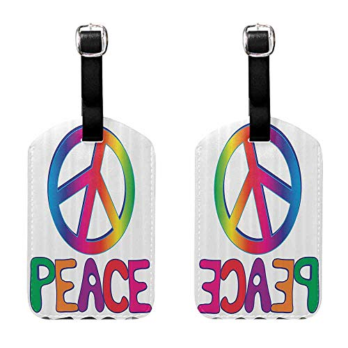 Luggage Tags 2 Pcs Set 1960s Decorations Collection,Peace Text with Peace Sign Type Line Love Political Hippie Groovy Artistic Clipart Image,Pink Blue Baggage Name Tag
