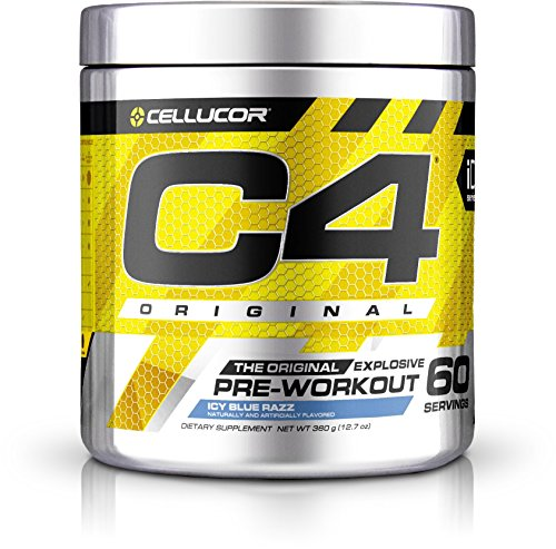 Cellucor C4 Original Pre Workout Powder Energy Drink w/ Creatine, Nitric Oxide & Beta Alanine, Icy Blue Razz, 60 Servings