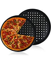 Pizza Pan With Holes,2 Pack 12 Inch Carbon Steel Pizza Bakeware,Perforated Tray Round Non-stick Crisper Pan for Home Kitchen Oven Baking,Black