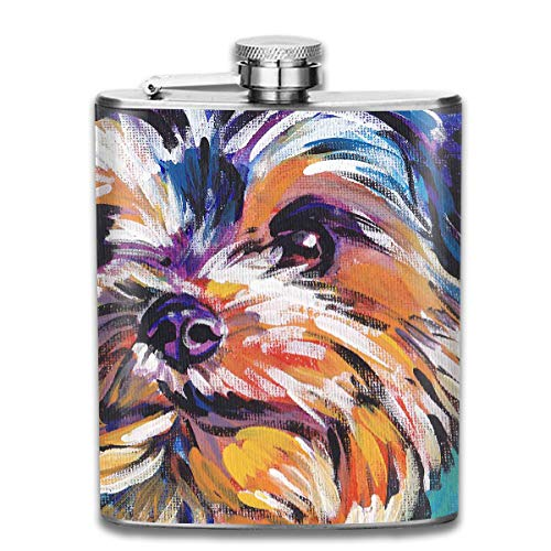 Laki-co Puppy Face Painting Wine Water Hip Flask for Liquor Stainless Steel Bottle Alcohol 7oz