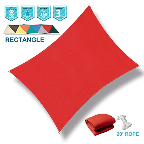 Coarbor 12' x 16' Rectangle Red UV Block Sun Shade Sail Perfect for Patio Outdoor Garden (Provide Do Shade Pergolas)
