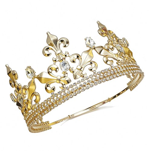 Janefashions Full King Metal Crown Austrian Rhinestone Imperial Medieval Renaissance Fleur De Lis C188G (Gold Color)]()