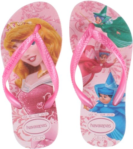 Havaianas Women Slim Crystal - Havaianas Slim Flip Flop Sandals, Toddler/Child, Princess,Crystal Rose/Rose,31/32 BR(2 M US Little Kid)
