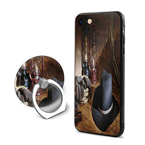 Cowboy Equipment Rodeo - Western iPhone 7/iPhone 8 Cases,American Rodeo Equipment with Cowboy Felt Hat Ranching Tools Lanterns Photo Black and Brown,Mobile Phone Shell Ring Bracket