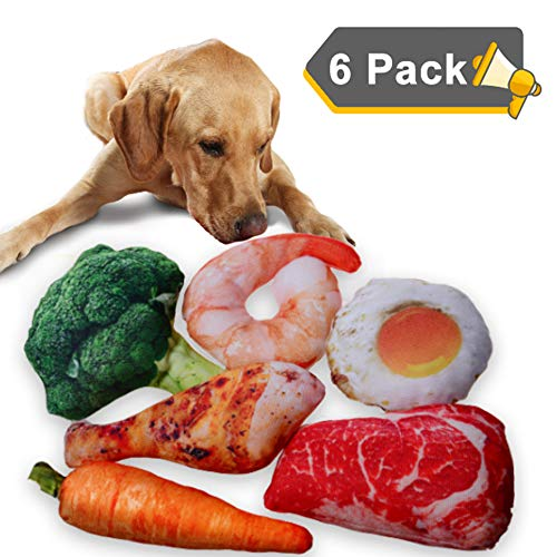 Squeaky Dog Toys 6 Packs, Plush Stuffed Vegetables & Meat Chew Toys Set for Small and Medium Dogs and Cats