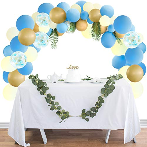 (Balloon Garland Kit Balloon Arch Kit Party Decorations Blue, Ivory, and Gold Confetti Latex Balloons for Any Party: Wedding, Bachelorette, Graduation, Backyard, Bridal & Baby Showers, Birthday, More)