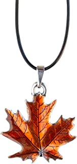 """product image for Danforth - Maple Leaf/Autumn Pewter Corded Necklace - 18"""" Black Leather Cord - Handpainted - Made in the USA"""