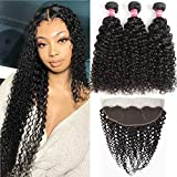 WENYU Brazilian Curly Hair 3 Bundles with Frontal Closure 13X4 Ear To Ear Lace Frontal with Bundles Kinky Curly Jerry Curl Hair Bundles with Frontal Kinkys Curly Human Hair Weave Water Wave 10 1214+10