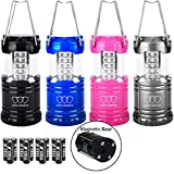 Gold Armour LED Lanterns with Batteries Included - Survival Kit for Emergency, Hurricanes, Outages, Camping Lantern Camping Equipment Camping Gear Camping Lights (4Pack Multicolor with Magnetic Base)
