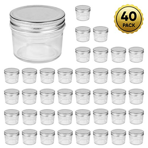 Accguan 4oz Glass Jars With Lids(Silver),Mason Jars,glass jars with lids,Ideal For Honey,Jam,Baby Foods,Wedding Favor,DIY Magnetic Spice Jars,Mini Spice Jars For Kitchen,Set of 40 -