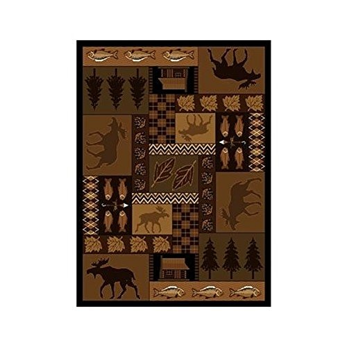 Rustic Home & Cabin Large Area Rug - Stain, Fade and Odor Resistant - Outdoor Theme - Lodge Style