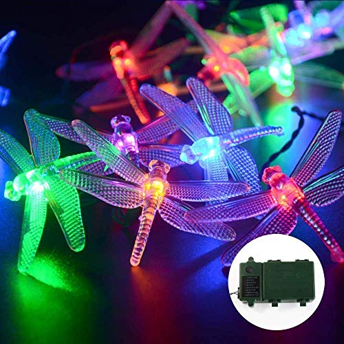 Qedertek Battery Christmas Lights, 7.34ft 20 LED Dragonfly String Lights, Waterproof Decoration Lighting for Indoor/Outdoor, Patio, Lawn, Garden, Party, Wedding (Multi-color)