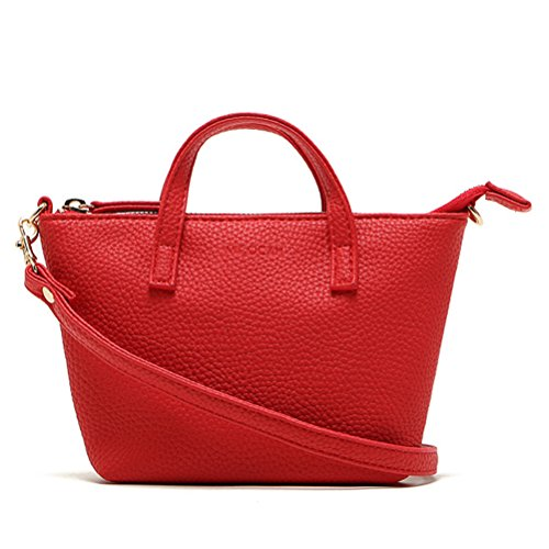 Women PU Leather Shoulder Bag Tote Satchel Red - 4