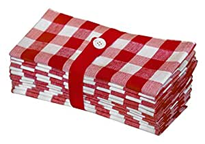 Cotton Craft 12 Pack Gingham Checks Oversized Dinner Napkins - Red - Size 20x20 in- 100% Cotton - Tailored with Mitered Corners and a Generous Hem - Easy Care Machine wash