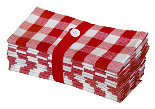 Cotton Craft 12 Pack Gingham Checks Oversized Dinner Napkins - Red - Size 20x20-100% Cotton - Tailored with Mitered Corners and a Generous Hem - Easy Care Machine wash (Barn Red Pottery)