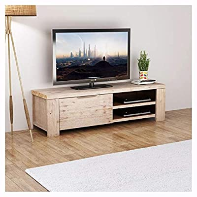 "K&A Company Entertainment Center & TV Stand, TV Cabinet Solid Brushed Acacia Wood 55""x15""x15.7"""